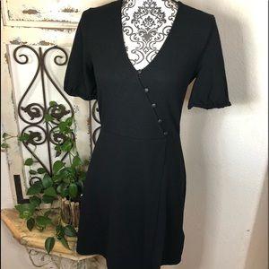 Madewell black mini wrap dress